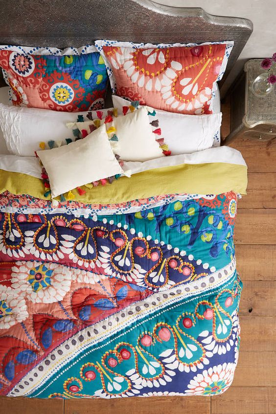 bohemian Moroccan-inspired colourful quilt