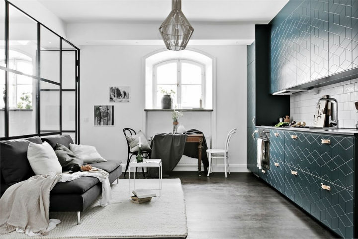 cozy Scandinavian studio apartment interior design 2