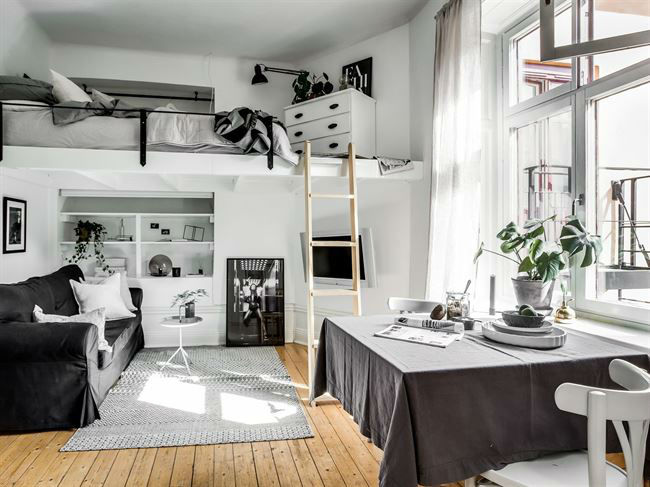 Tiny Scandinavian Studio Loft 4