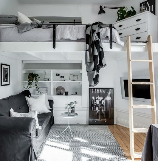 Tiny Scandinavian Studio Loft