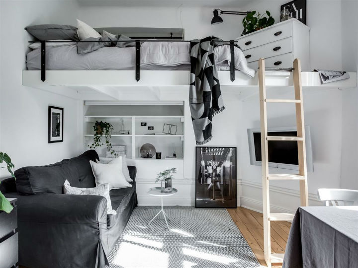 Tiny Scandinavian Studio Loft