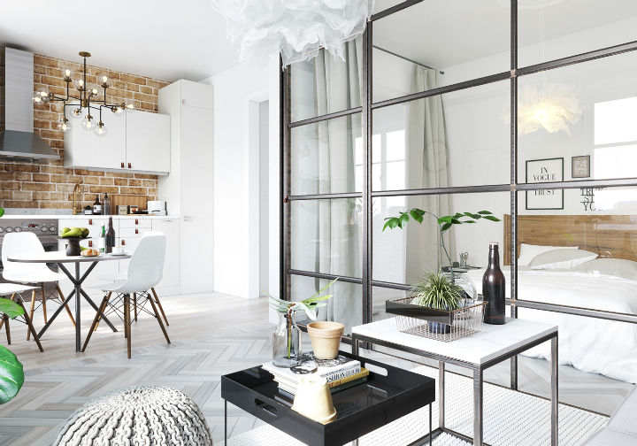 fictional chic Scandinavian apartment interior design 6