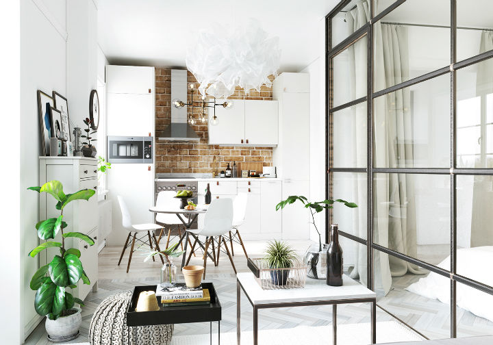 fictional chic Scandinavian apartment interior design