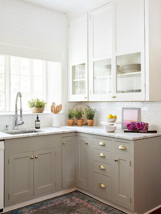 Dove White and grey kitchen cabinets
