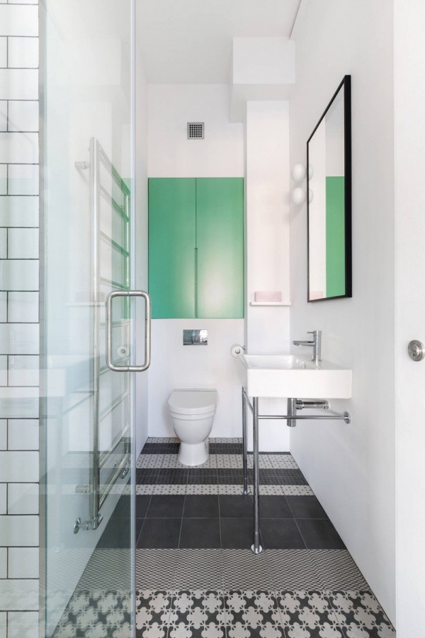 white and green contemporary bathroom