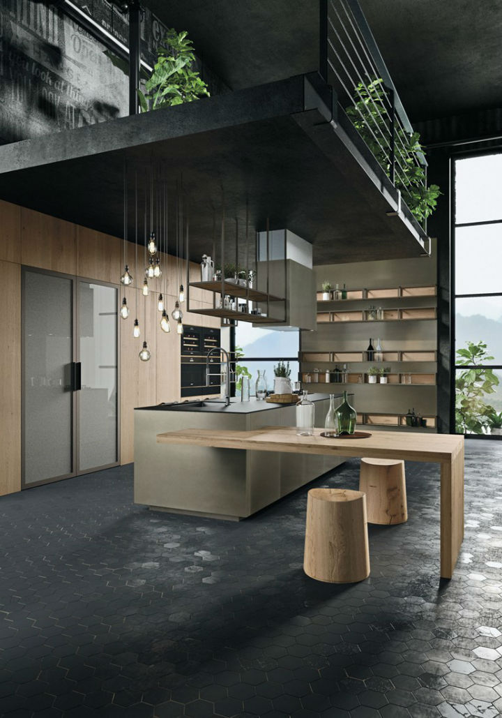 Opera Industrial Kitchen With Island Without Handles