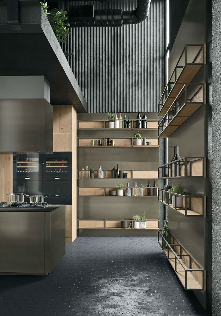 OPERA Industrial Kitchen With Island Without Handles 3
