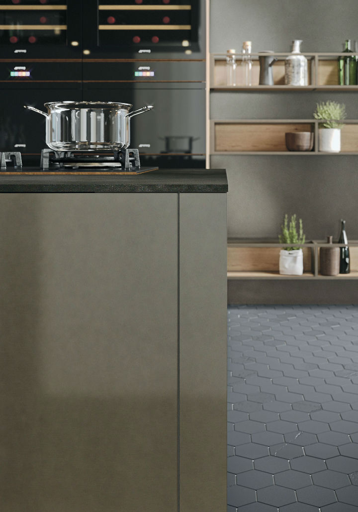 OPERA Industrial Kitchen With Island Without Handles 6