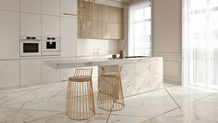 Stunning Elegant White Kitchen With Gold Touches 2