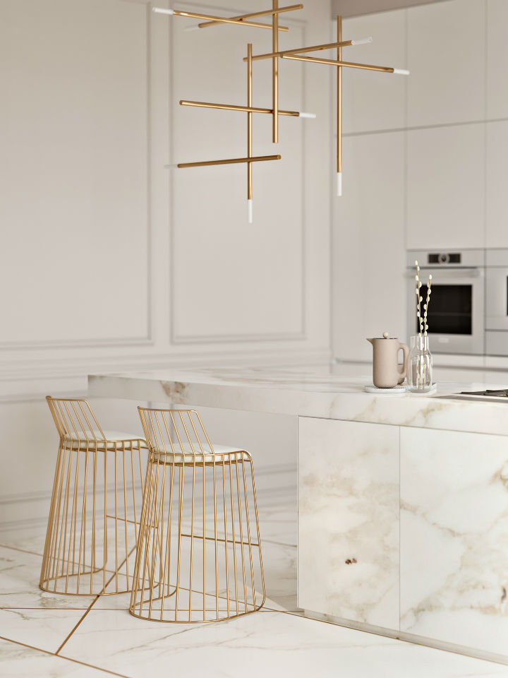 Stunning Elegant White Kitchen With Gold Touches 3