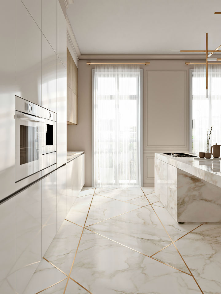 Stunning Elegant White Kitchen With Gold Touches 4