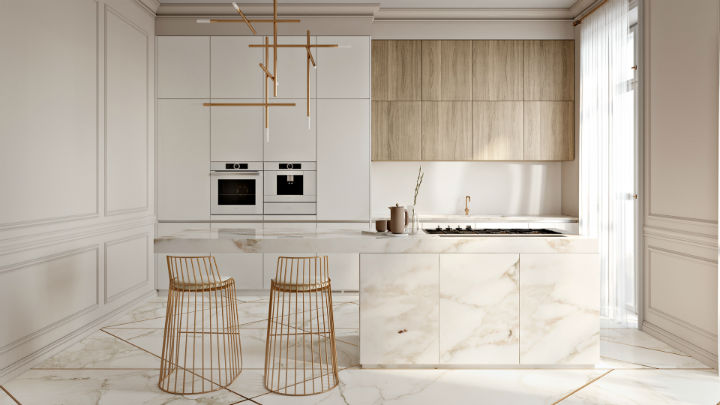 Stunning Elegant White Kitchen With Gold Touches 5
