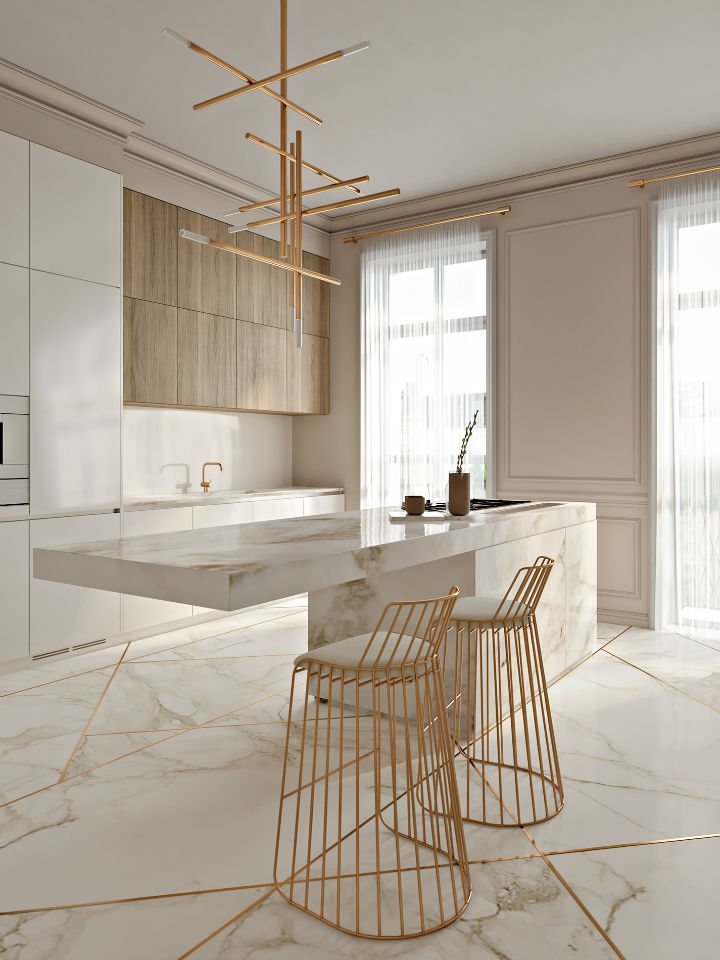 Stunning Elegant White Kitchen With Gold Touches