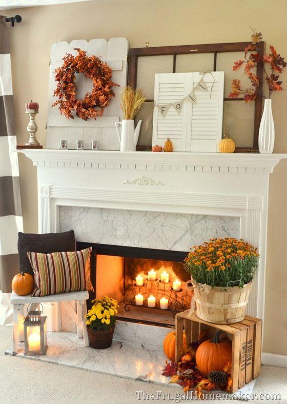 fall home decor fireplace idea