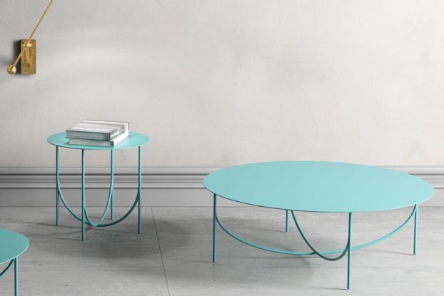 turquoise steel coffee table