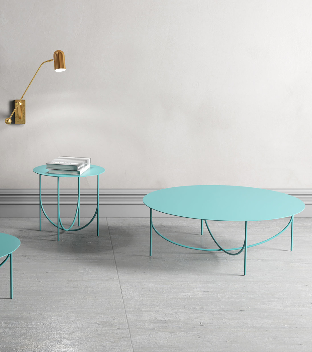 turquoise steel coffee table