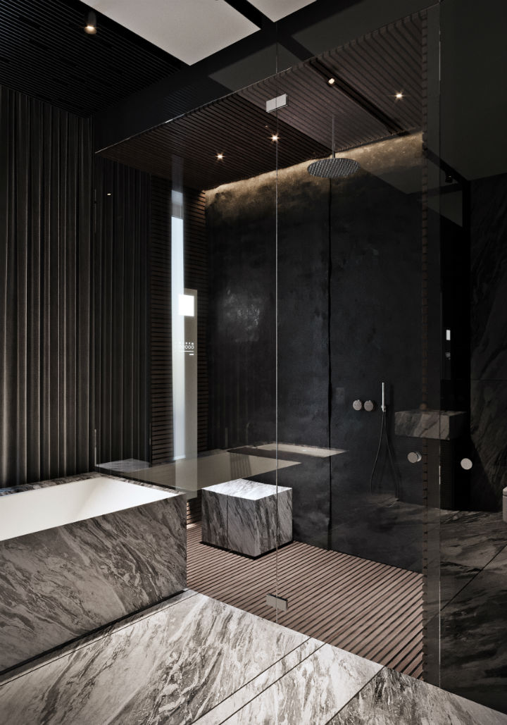 contemporary masculine apartment interior design 25