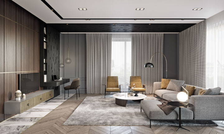 contemporary masculine apartment interior design 5