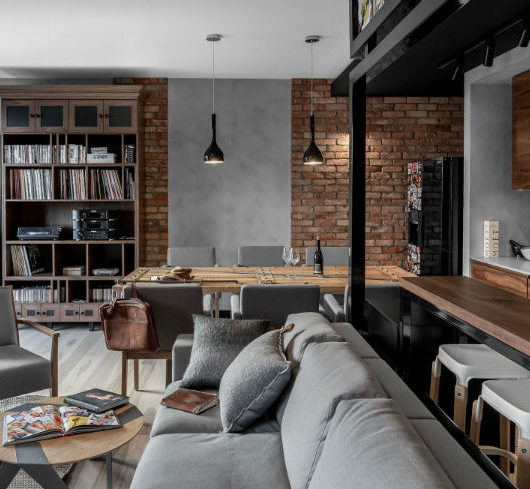 interior with Brick Walls and Elegant Structures