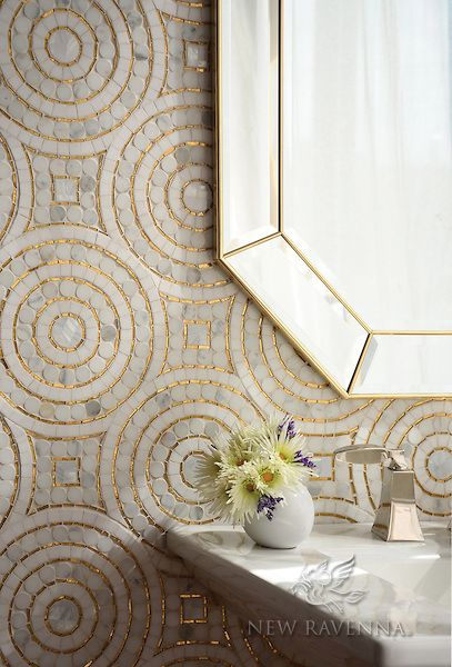 gold tile bathroom idea