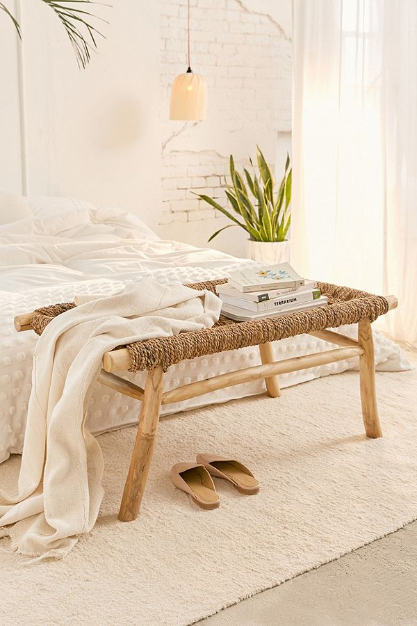 bohemian inspired woven bench