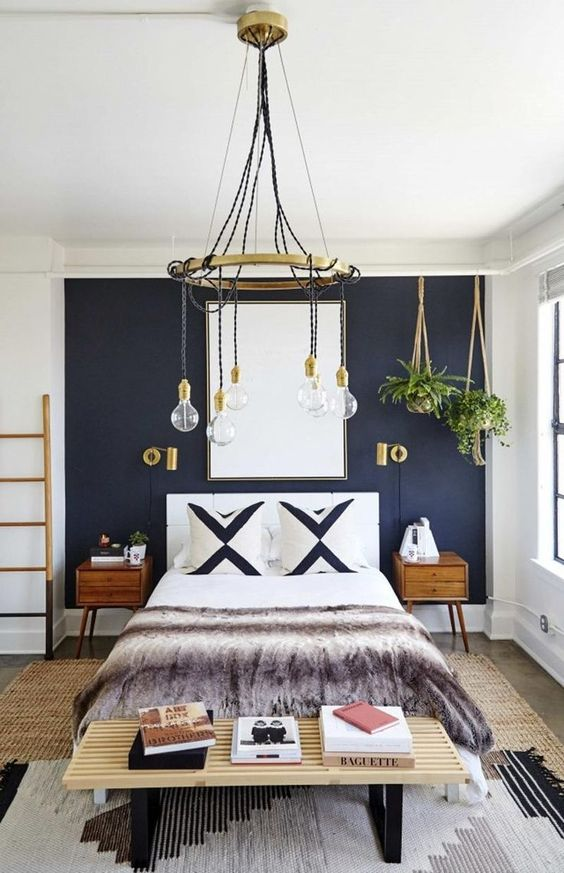 bedroom dark blue wall paint idea