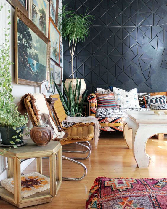 eclectic bohemian living room with art wall gallery and black wall
