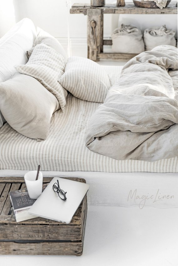 Linen duvet cover in Natural Linen Oatmeal color