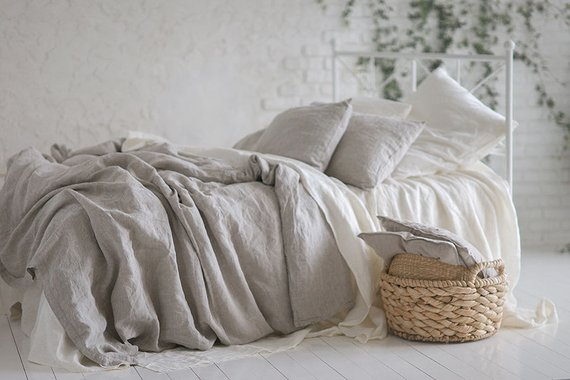 Cal King Pure Linen Natural Softened Bed Duvet Cover