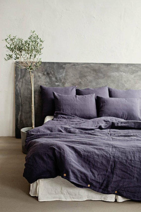 Linen bedding SET in Purple Charcoal