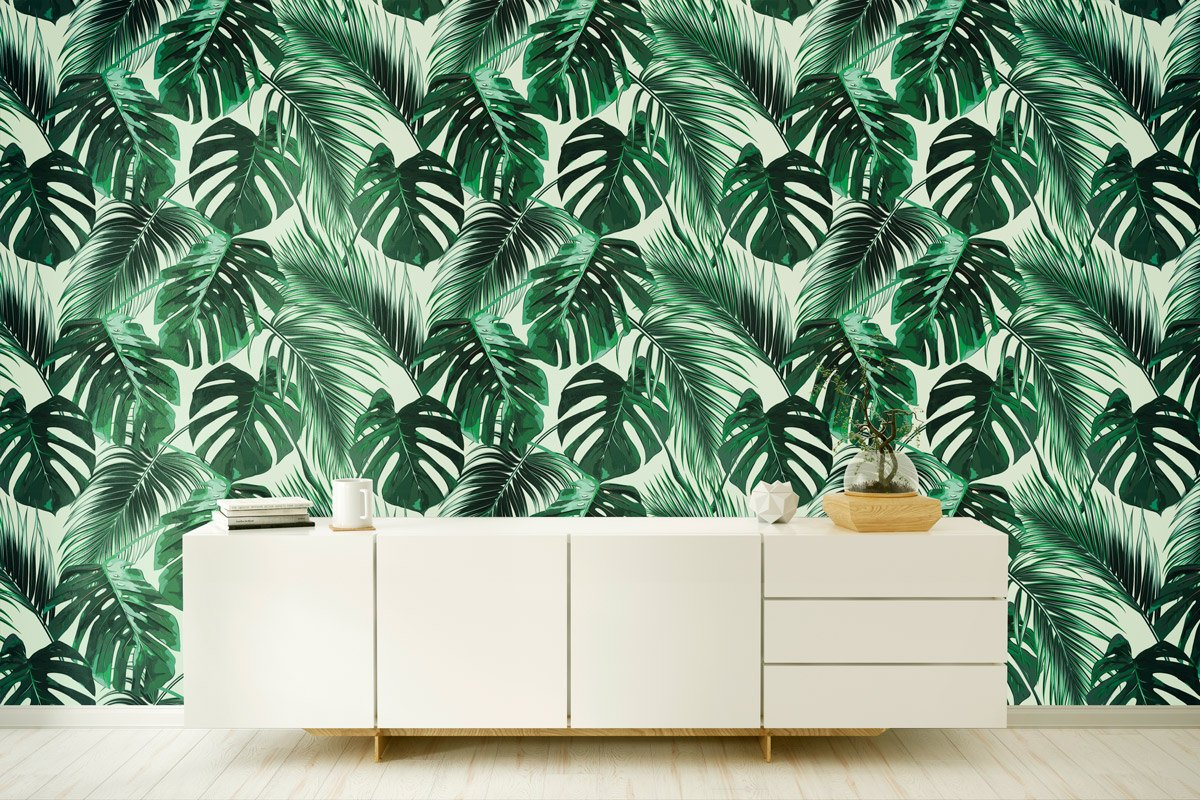 Self-adhesive botanical wallpaper