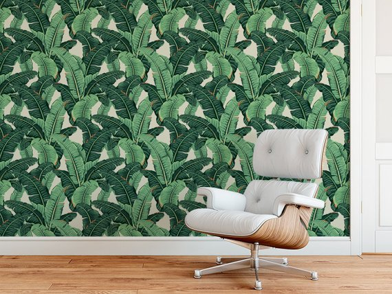 SELF ADHESIVE Tropical Banana Wallpaper