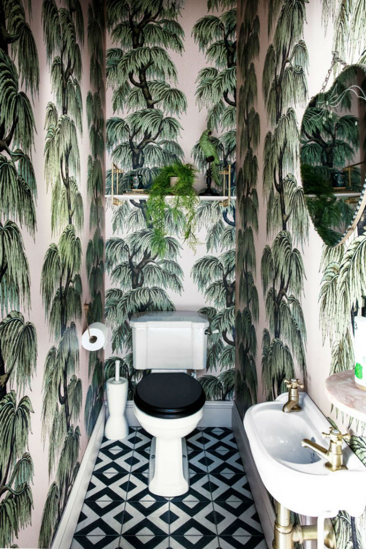tropical botanical decor bathroom