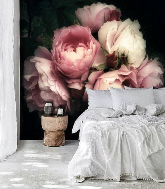 Dark blush vintage Floral Mural