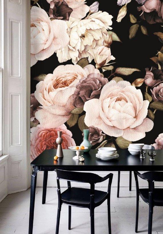 dutch dark vintage floral removable wallpaper