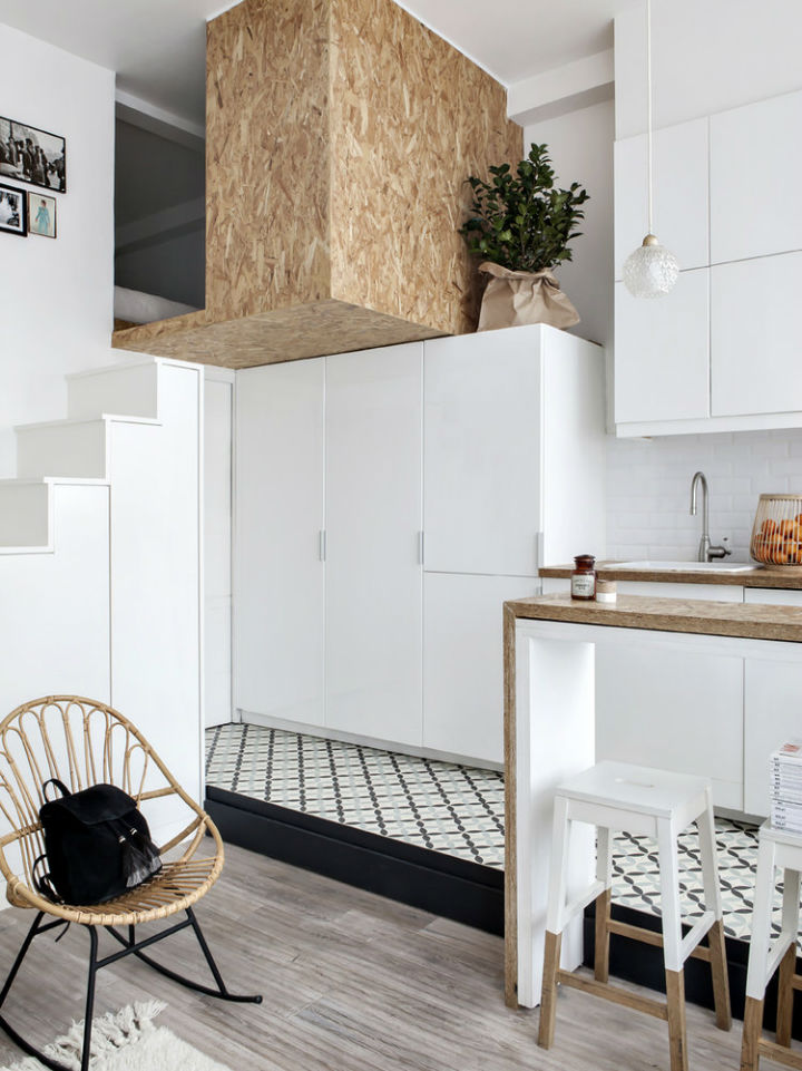 tiny white loft interior design
