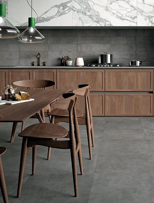 wood and gray contemporary kitchen