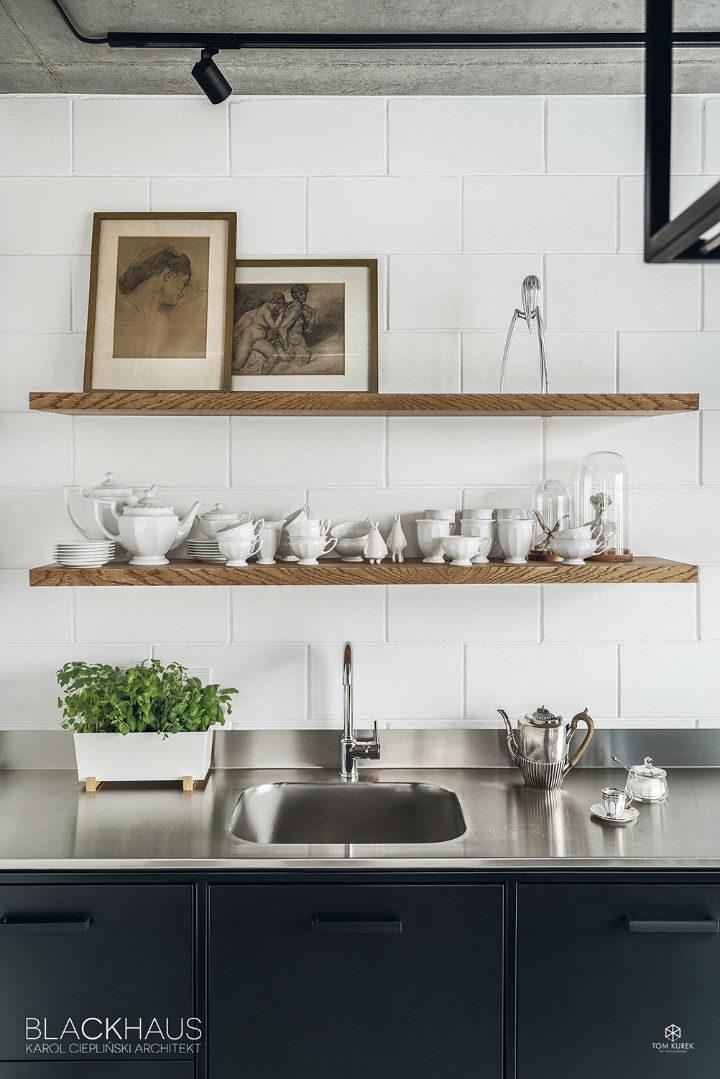 stylish open wood kitchen shelves