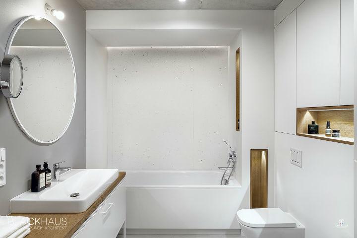 white clean lines minimalist white bathroom