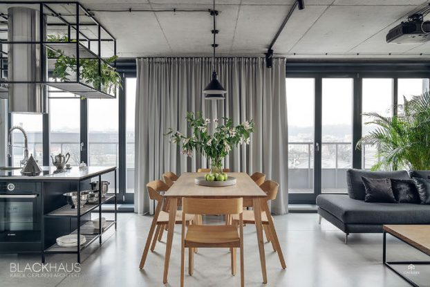 contemporary grey and wood dining room