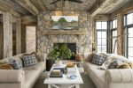 cozy cabin with stone and wood