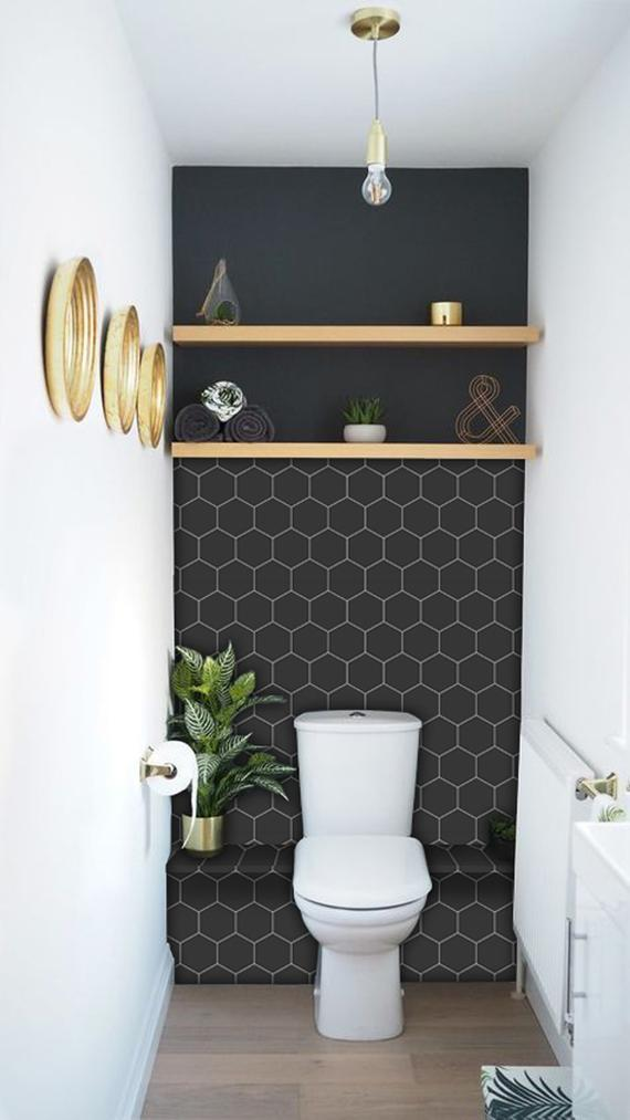 black hexagon tile Awesome Tile Stickers & Removable Vinyl Wallpaper Designs Perfect Solution For Renters
