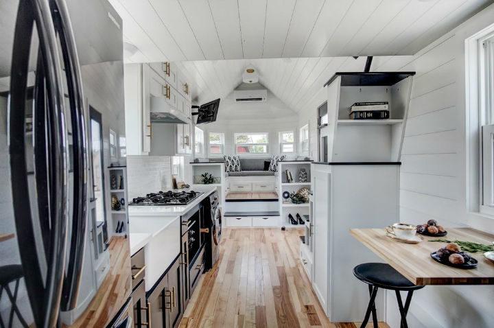tiny stylish trailer home interior design