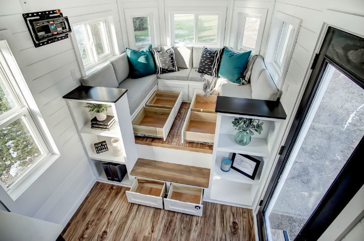 tiny stylish trailer home interior design 19