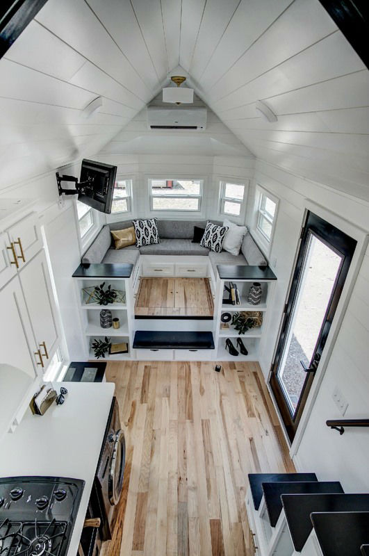 tiny stylish trailer home interior design 8