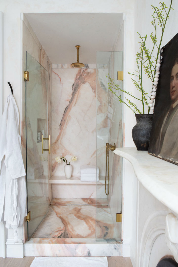 marble in shower design idea