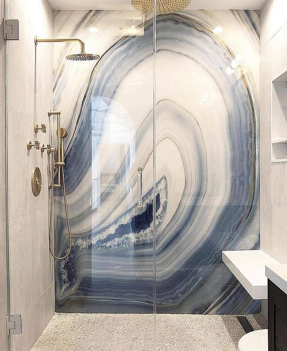 blue marble in shower design idea
