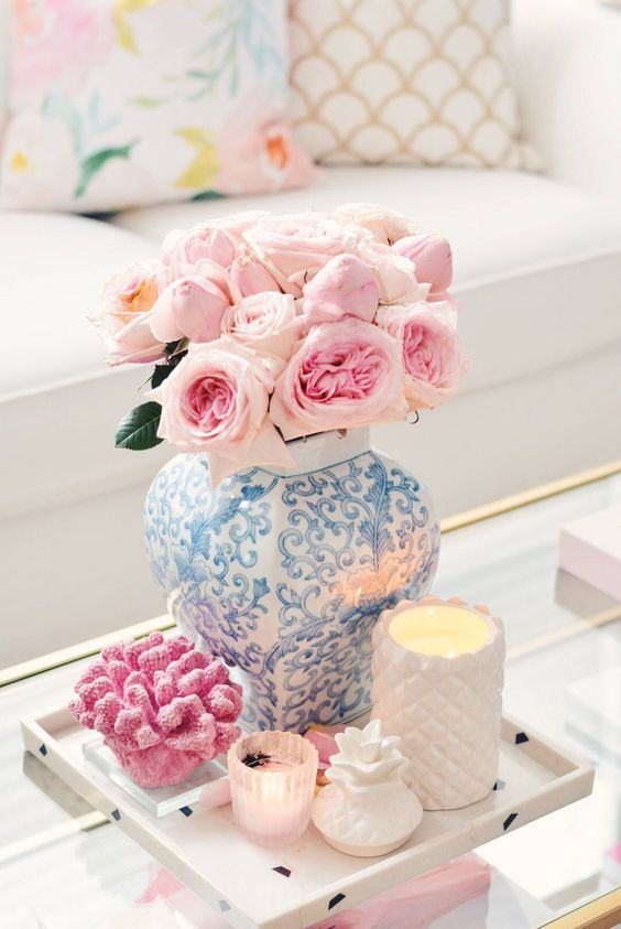 fresh roses spring home decoration