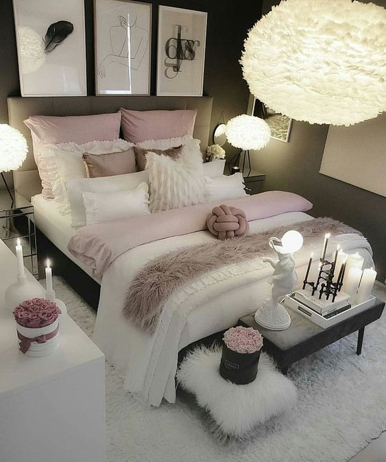 pink white and gray colors in room