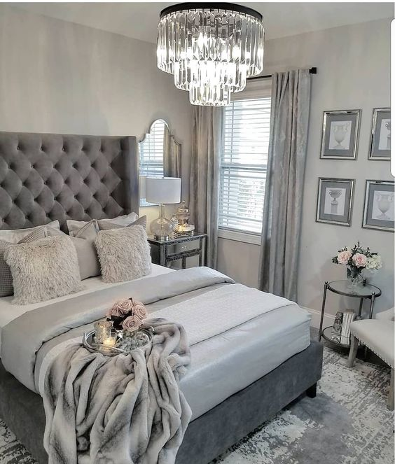 different shades of grey in bedroom